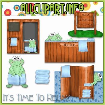 $1.00 BARGAIN BIN - Spa Frogs (Blue) Clip Art