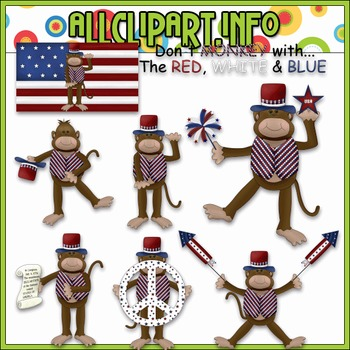 $1.00 BARGAIN BIN - The Patriotic Monkey Clip Art