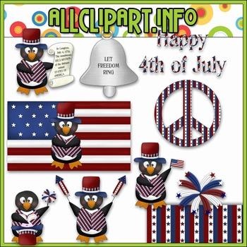 $1.00 BARGAIN BIN - The Patriotic Penguin Clip Art