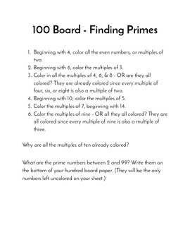 100 Board - Finding Primes Activity Card