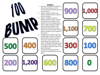100 Bump - A 2-Player Game to Practice Multiplying by 100