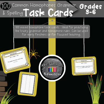 100 Common Homophone Grammar and Spelling Task Cards