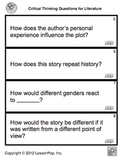 100 Crtical Thinking Questions for Literature & CCSS