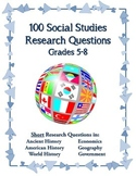 100 Social Studies Research Questions for Elementary and M