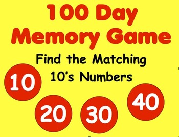 100 Day Memory Match Game - 10's Numbers