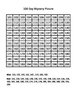 100 Day Mystery Picture - Number Chart 101-200