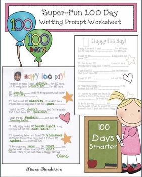 Super-Fun 100 Day Writing Prompt Worksheet