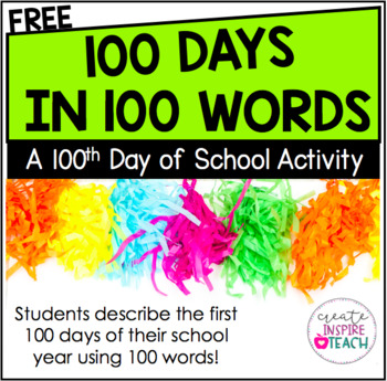 100 Days Writing Activity- FREEBIE