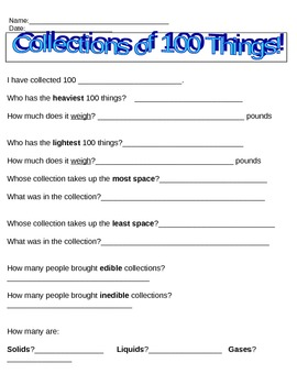 100 Days of School Collection Sheet