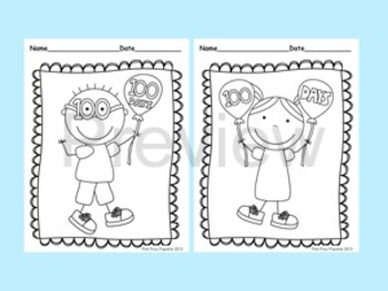 100 Days of School Coloring Pages - 8 Different Designs