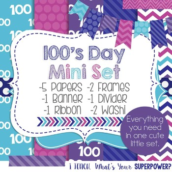 Digital Paper and Frame Mini Set 100s Day