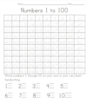 100 Days of School: Tracing Numbers 1 to 100 by Whitney ...
