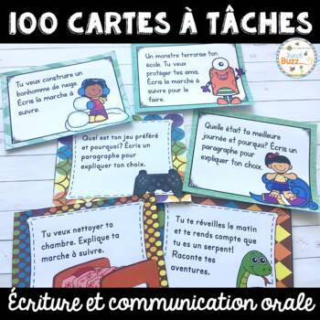 100 French Writing Task Cards - 100 cartes à tâches pour l