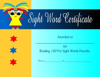 100 Fry Sight Word Certificate