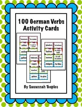 100 German Verbs Activity Cards