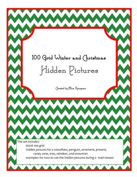 100 Grid Hidden Pictures Set for Winter and Christmas