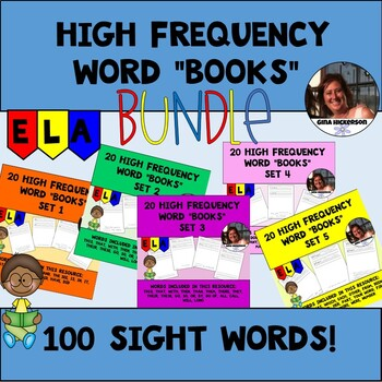 """BUNDLE 100 High Frequency Words """"Books"""" Sets 1-5"""