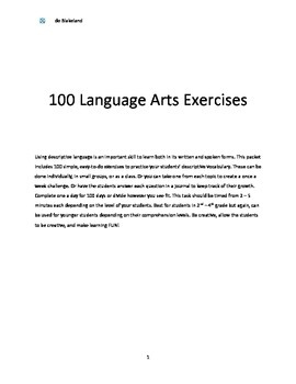 100 Language Arts Exercises done in 2 - 5 minutes each!