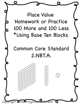 100 More 100 Less Place Value Homework Freebie