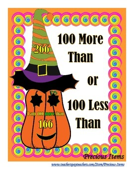 100 More Than or 100 Less Than - Pumpkins and Hats