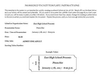 100+ Numbered Customizable Event Tickets for Concert, Play, etc.