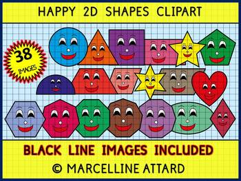 2D SHAPES CLIP ART: GEOMETRY CLIPART: SMILEY FLAT SHAPES C