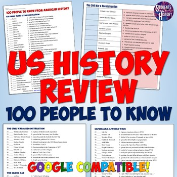 100 People to Know For US or American History