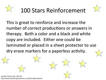 100 Stars Reinforcement Activity