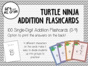 100 Turtle Ninja Single-Digit Addition Flashcards (0-9)