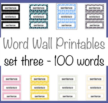 100 Word Wall Words 8 Polka Dot backgrounds Third 100 Fry Words