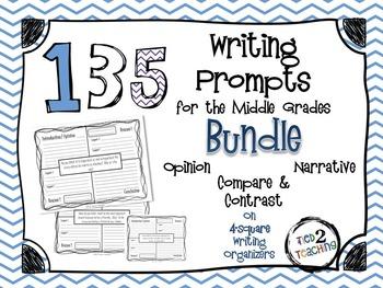 135 Writing Prompts (Middle Grades) Bundle (Opinion Narrat