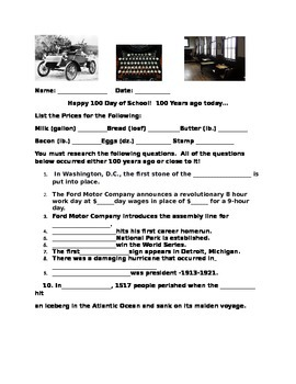 100 Years Ago Today- 100th Day Fun Activity