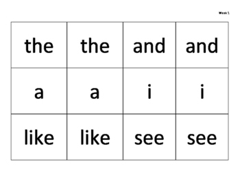 100 fry words matching game