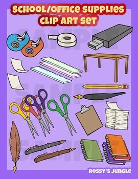 School or office supplies clip art set