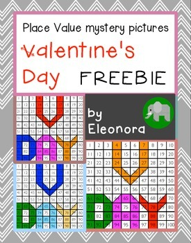 Hundreds chart place value mystery pictures  - - Valentine