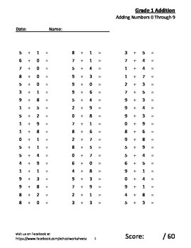 100 worksheets of Math practice - additions 0-9