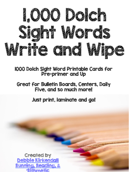1000 Dolch Sight Words Write and Wipe