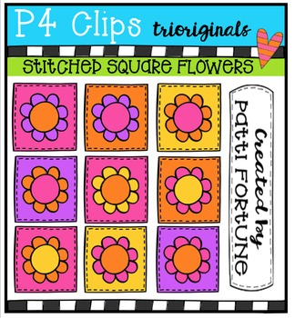 1000 Followers DAY 3 FREEBIE Stitched Squares Flowers {P4