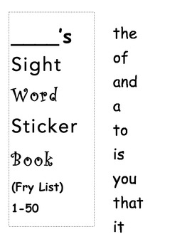 1000 Fry Words Sight Word Sticker Book Plus Logs and Paren