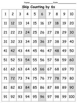 100s Chart: Skip Count by 6s - Full Page - Portrait -King Virtue