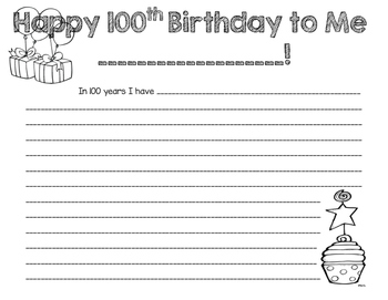 100th Day Activity - 100th Birthday