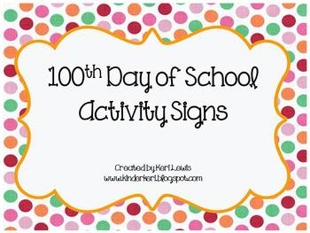 100th Day Activity Signs For Centers