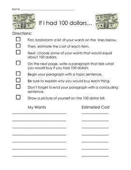 100th Day Dollar Bill Writing Challenge