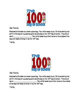 100th Day Guessing Bag Letter