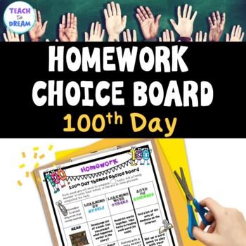100th Day Homework Choice Board or Grid