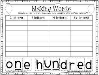 100th Day Making Words {FREEBIE}