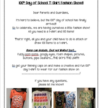 100th Day T-Shirt Parent Note!
