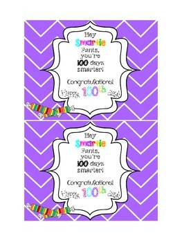 100th Day Treat Tag: Smartie Pants!! {FREE}
