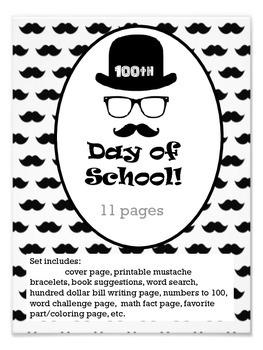 100th Day mustache set