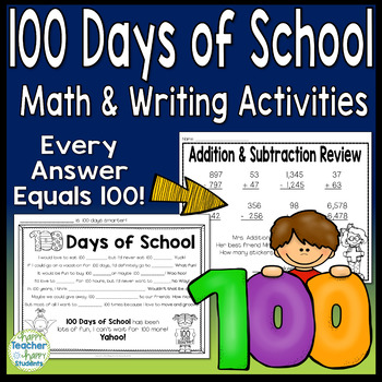 100th Day of School Math Activity (Each answer=100) & 100